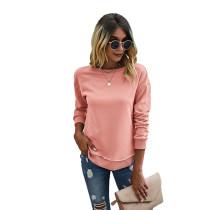 Pink Side Slit Casual Pullover Sweatshirt TQK230178-10