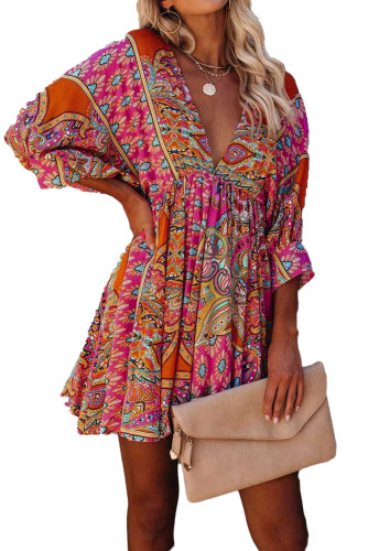 Multicolour V Neck 3/4 Sleeve Bohemian Vintage Print Mini Dress LC221873-22