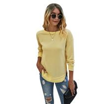Yellow Side Slit Casual Pullover Sweatshirt TQK230178-7