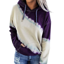 Purple Colorblock Tie Dye Print Hoodie TQK230177-8