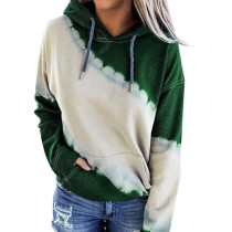 Dark Green Colorblock Tie Dye Print Hoodie TQK230177-36