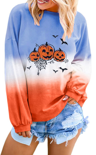 Color Block Halloween Pumpkin Sweatshirt LC252815-2014