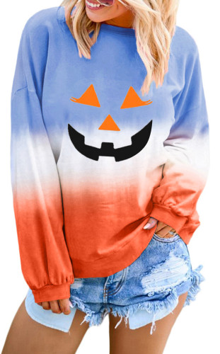 Orange Ombre Color Block Halloween Pumpkin Sweatshirt LC252815-1014