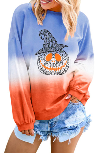 Sky Blue Ombre Color Block Halloween Pumpkin Sweatshirt LC252815-104