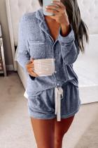 Blue Long Sleeve Drawstring Button Loungewear LC451005-5