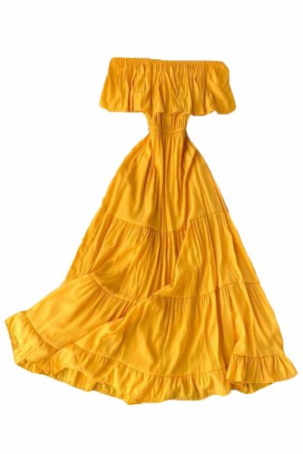 Yellow Off-the-shoulder Tiered Pleated Maxi Dress LC612028-7