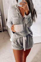 Gray Long Sleeve Drawstring Button Loungewear LC451005-11