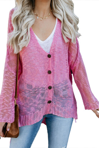 Pink Loose Lightweight V Neck Buttoned Sheer Knit Cardigan LC271026-10