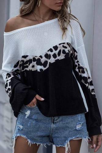Cheetah Print Colorblock Knitted Casual Top LC2511717-2
