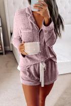 Pink Long Sleeve Drawstring Button Loungewear LC451005-10