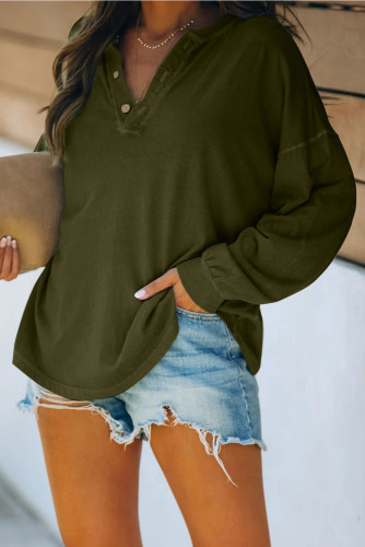 Buttoned V Neck Cotton Loose Fit Top LC2511947-109