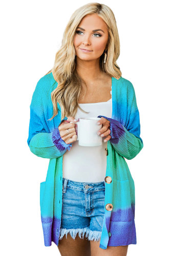 Blue Rainbow Ombre Buttoned Cardigan with Pockets LC254071-5