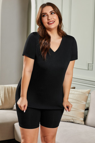 Black Plus Size V Neck T-shirt and Shorts Loungewear LC62129-2