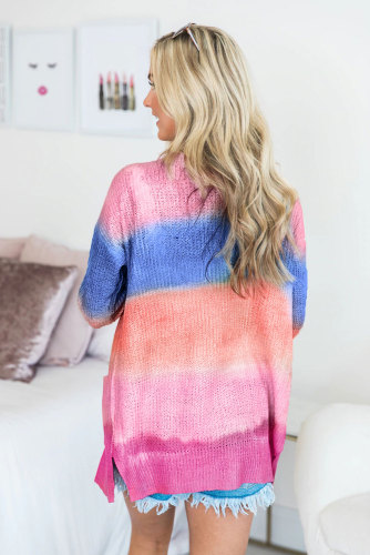 Rose Rainbow Ombre Buttoned Cardigan with Pockets LC254071-6
