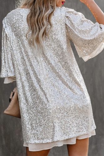 Silvery Sequin Shift Mini Dress LC221654-13