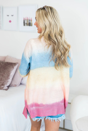 Rainbow Ombre Buttoned Cardigan with Pockets LC254071-22
