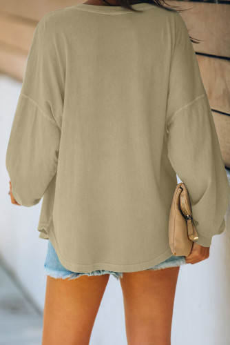Khaki Buttoned V Neck Cotton Loose Fit Top LC2511947-16