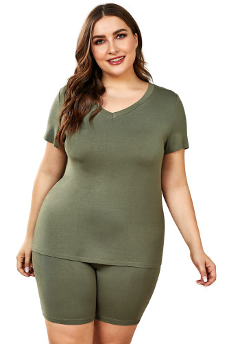 Green Plus Size V Neck T-shirt and Shorts Loungewear LC62129-9