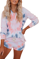 Pink Cotton Blend Pocketed Tie-dye Hoodie Shorts Suit LC451137-10