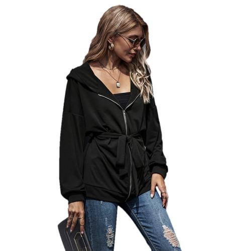 Black Zipper Lace-Up Hooded Coat TQK280059-2