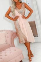 Pink Chiffon Detail Sequin Dress LC611834-10