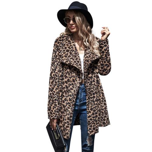 Brown Leopard Print Lapel Collar Long Coat TQK280064-17