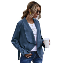 Blue Turndown Collar Faux Suede Casual Coat TQK280060-5