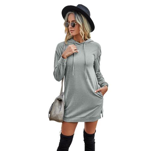 Gray Drawstring Long Sleeve Hooded Dress TQK310380-11