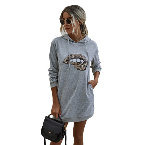 Gray Lip Print Drawstring Hooded Dress TQK310381-11