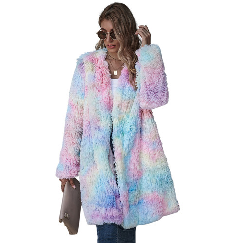 Multicolor Tie Dye Long Sleeve Plush Coat TQK280062-29