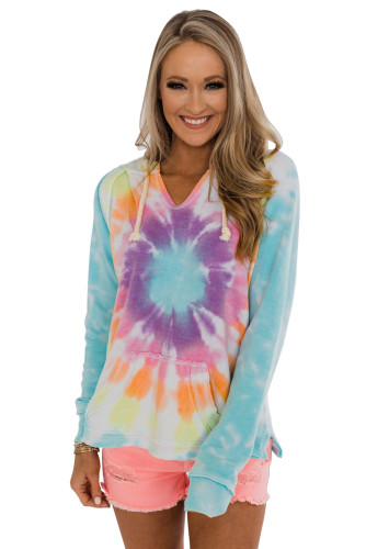 Multicolor Tie-dye Pattern Drawstring Pullover Hoodie LC2531070-22
