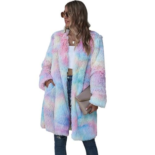 Multicolor Tie Dye Long Sleeve Plush Coat TQK280062-29
