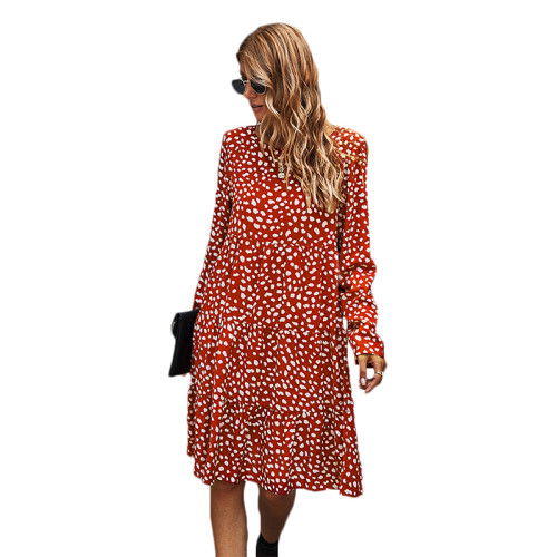 Rust Red Polka Dot Long Sleeve Dress TQK310379-33