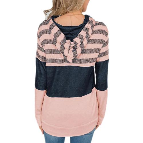 Pink Colorblock Zipper Up Drawstring Coat TQK280058-10