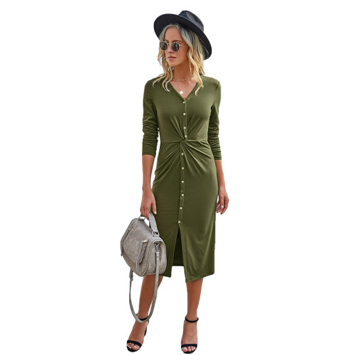 Army Green V Neck Buttoned Midi Dress TQK310383-27