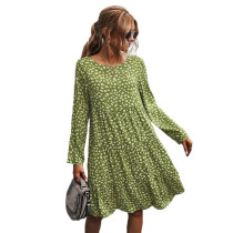 Green Polka Dot Long Sleeve Dress TQK310379-9