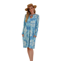 Blue Hollow Out Long Sleeve Tie Dye Dress TQK310378-5