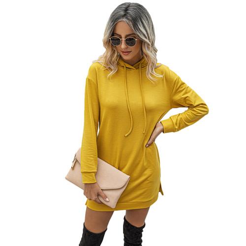 Yellow Drawstring Long Sleeve Hooded Dress TQK310380-7