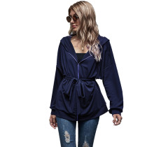 Navy Blue Zipper Lace-Up Hooded Coat TQK280059-34