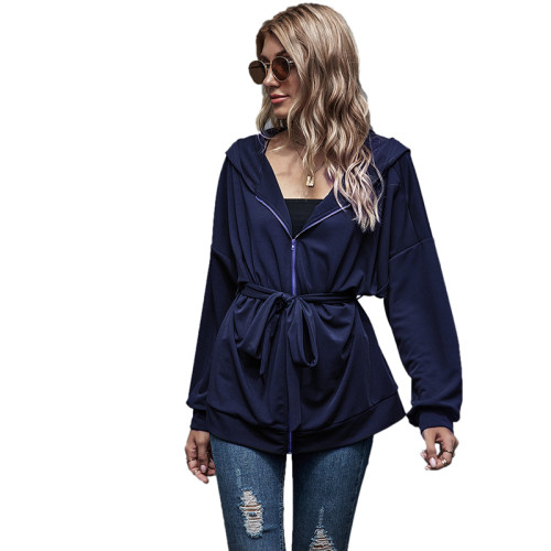 Navy Blue Zipper Lace-Up Hooded Coat TQK280059-34