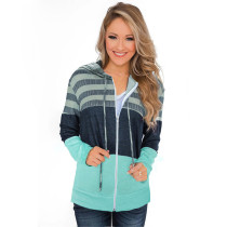 Aquamarine Colorblock Zipper Up Drawstring Coat TQK280058-45
