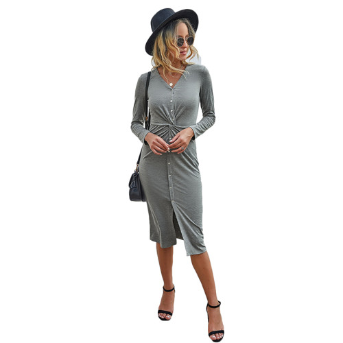 Light Gray V Neck Buttoned Midi Dress TQK310383-25