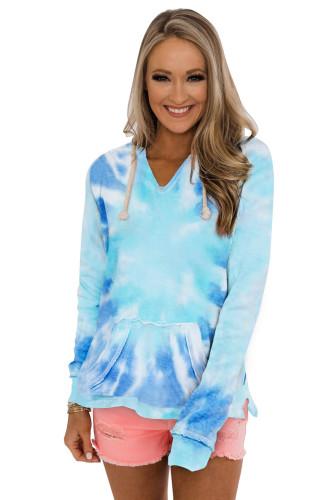 Sky Blue Tie-dye Pattern Drawstring Pullover Hoodie LC2531070-4