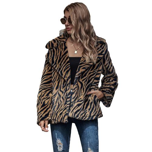 Brown Tiger Print Lapel Collar Long Sleeve Coat TQK280063-17