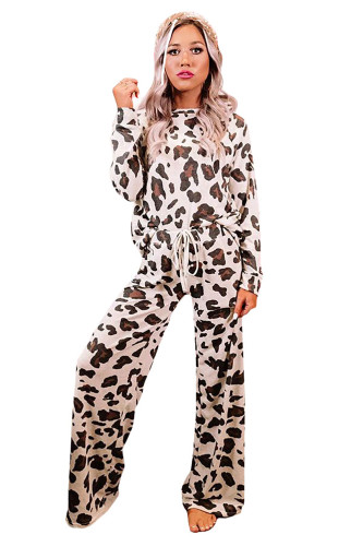 Brown Leopard Print Loungewear Set LC451184-17