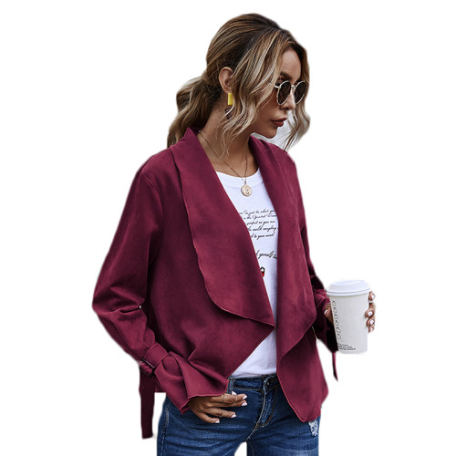 Wine Red Turndown Collar Faux Suede Casual Coat TQK280060-103