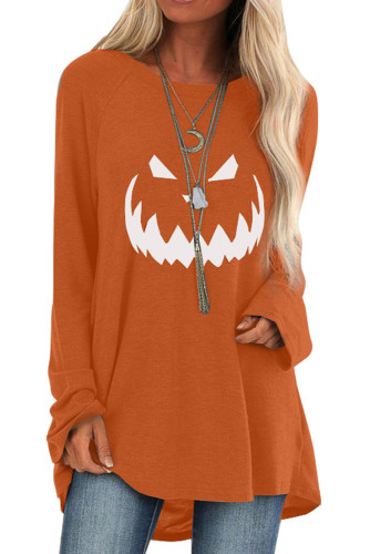 Orange Halloween Printed Pullover Long Sleeve Tunic Top LC2531736-14
