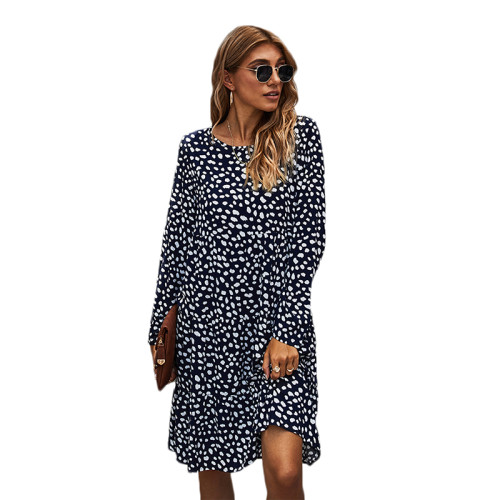 Navy Blue Polka Dot Long Sleeve Dress TQK310379-34