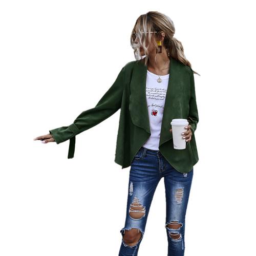 Green Turndown Collar Faux Suede Casual Coat TQK280060-9