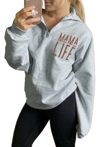 Mama Life Zipper Sweatshirt LC2531173-3011